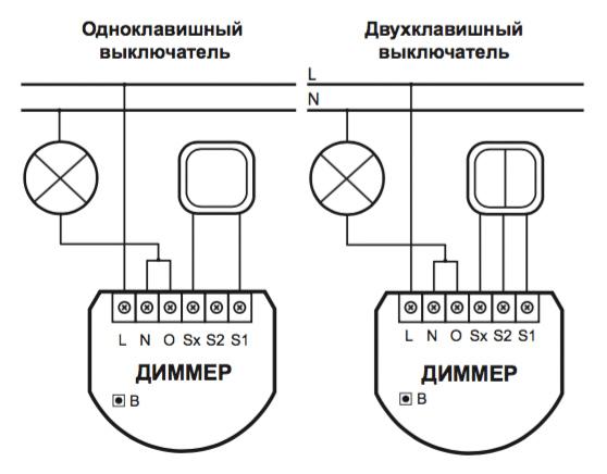Схема подключения диммера Fibaro (2-проводная схема)
