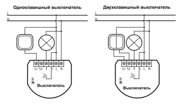 Схема подключения выключателя Fibaro с 1 каналом