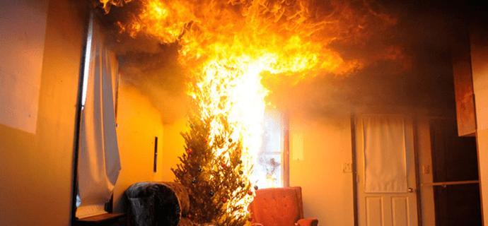 Елка горит дома