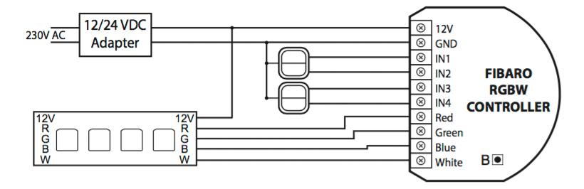 Схема подключения RGBW-контроллера Fibaro со светодиодной лентой