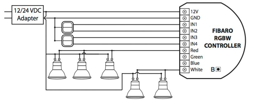 Схема подключения RGBW-контроллера Fibaro с галогенными лампами