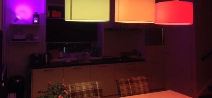Цветные лампы на кухне