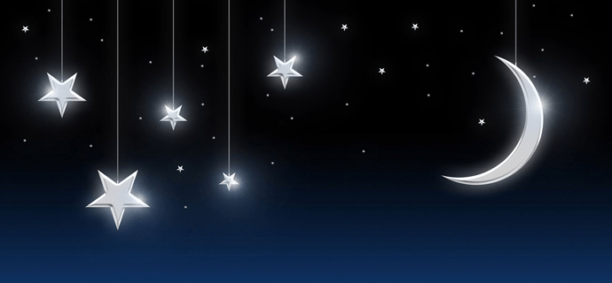 Луна и звезды на ночном небе