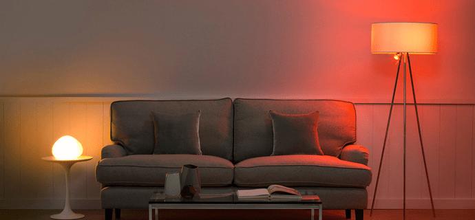 Цветные лампы в гостиной